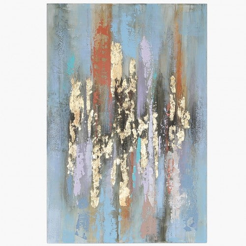 Gold & Blue Abstract Canvas Wall Art