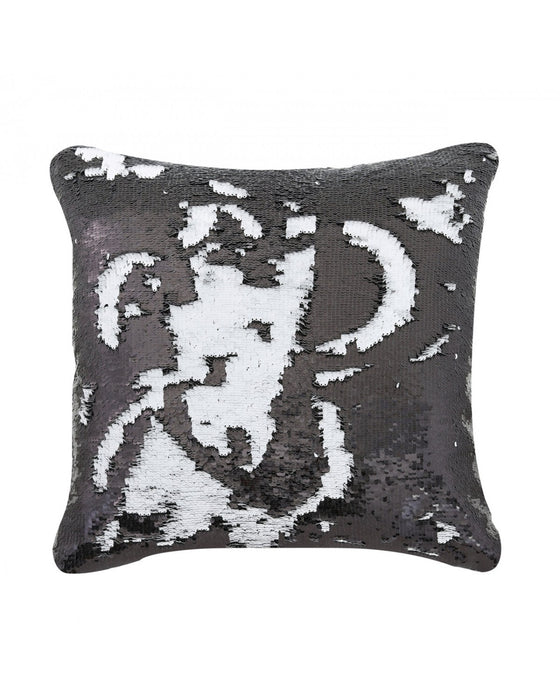 Black and White Mermaid Sequin Cushion Large
