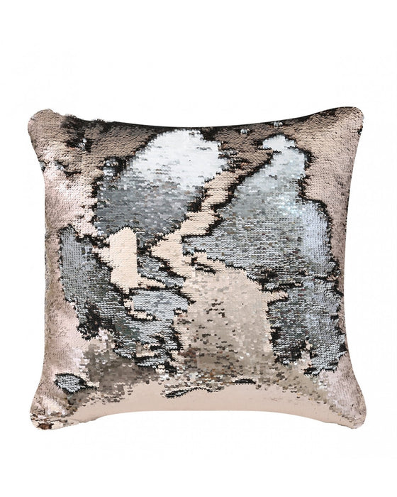 Silver & Rose Gold Mermaid Sequin Cushion Large