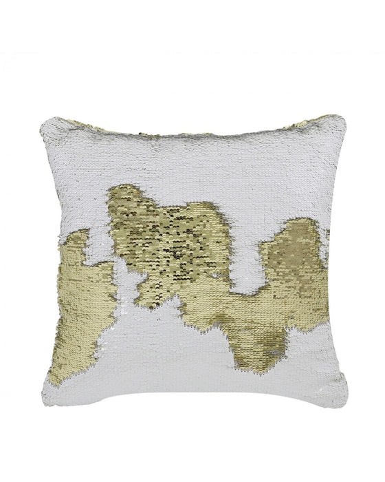 Gold & White Two Tone Sequin Siren Cushion