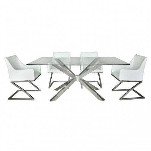 Alexa Chrome And Glass Dining Table & 4 Light Grey Chairs