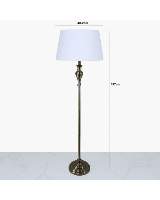 Antique Brass Sandringham Floor Lamp With White Empire Shade
