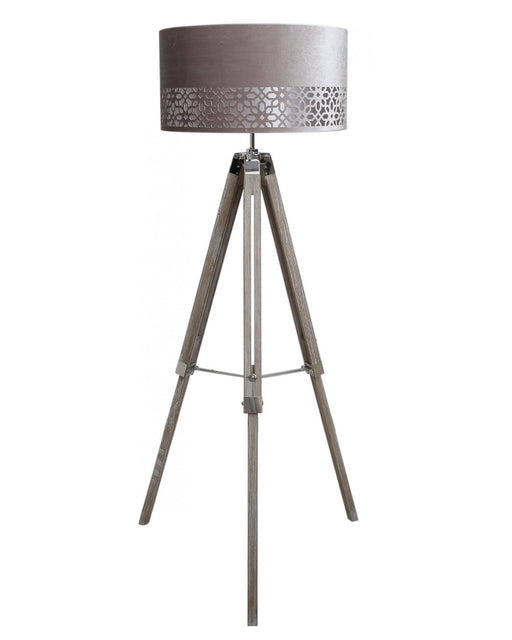 Wood Tripod Floor Lamp With Grey Shade