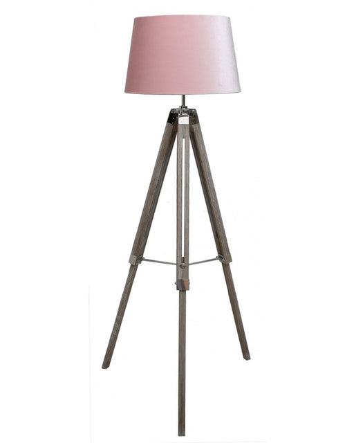 Wood Tripod Floor Lamp With Pink Shade
