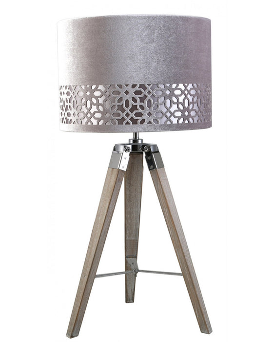 Medium Wood Tripod Table Lamp With Grey Shade