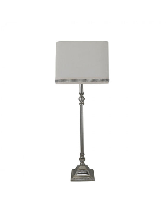 Medium Chrome Candlestick Table Lamp With Cream Shade
