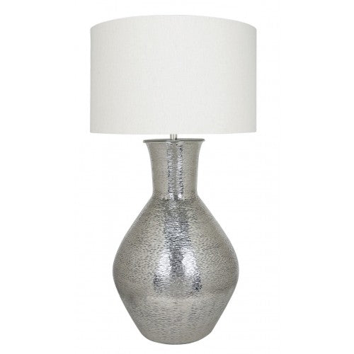 Nickel Olpe Floor Lamp With A 24 Inch Natural Linen Drum Shade
