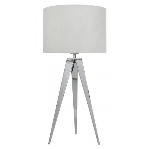 Chrome Hollywood Table Lamp With 13 Inch White Faux Silk Cylinder Shade