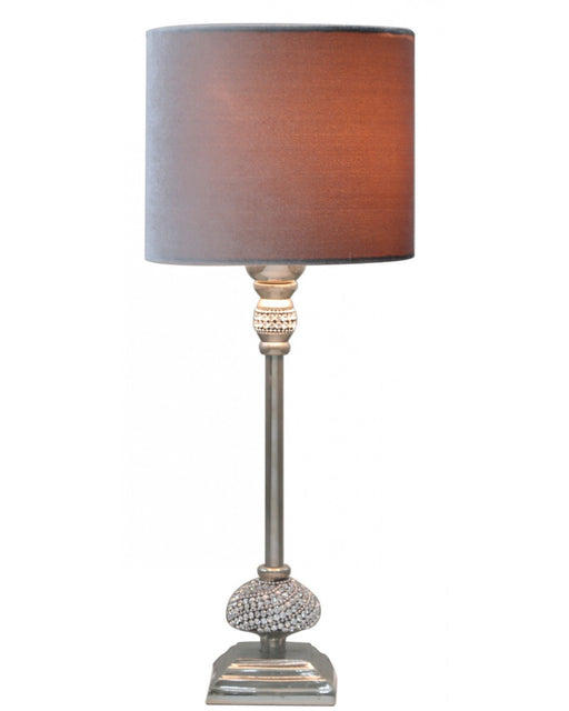 Small Nickel Diamante Candlestick Table Lamp With Grey Velvet Shade