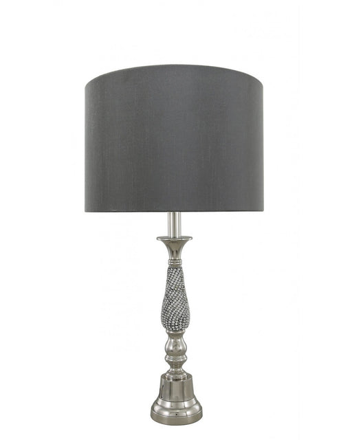 Nickel Diamante Candlestick Table Lamp With 13 Inch Grey Shade