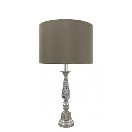 65cm Glitz And Nickel Table Lamp Base Only - E27-Dual Plug