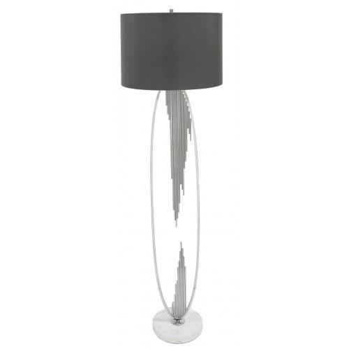 Silver Oval Abstract Floor Lamp With 18 Inch Faux Silk Cylinder Shade