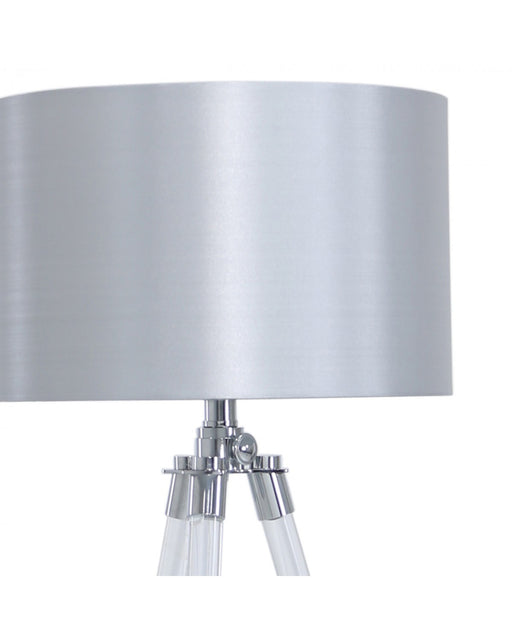 Acrylic Tripod Table Lamp With Silver Shade