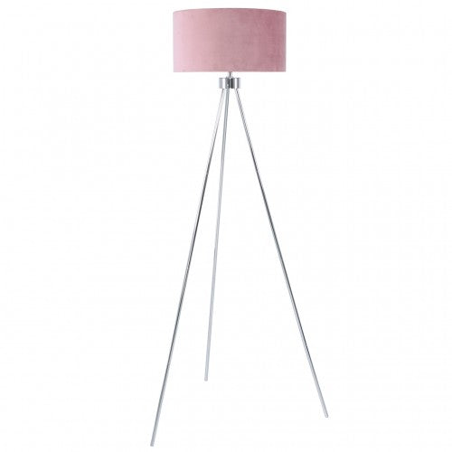 Large 159cm Chrome Tripod Floor Lamp With Pink Velvet Shade