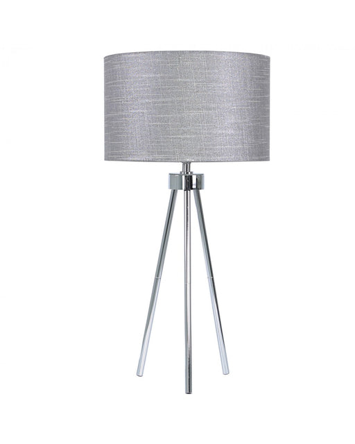 Medium 68cm Chrome Tripod Table Lamp With Grey Linen Shade
