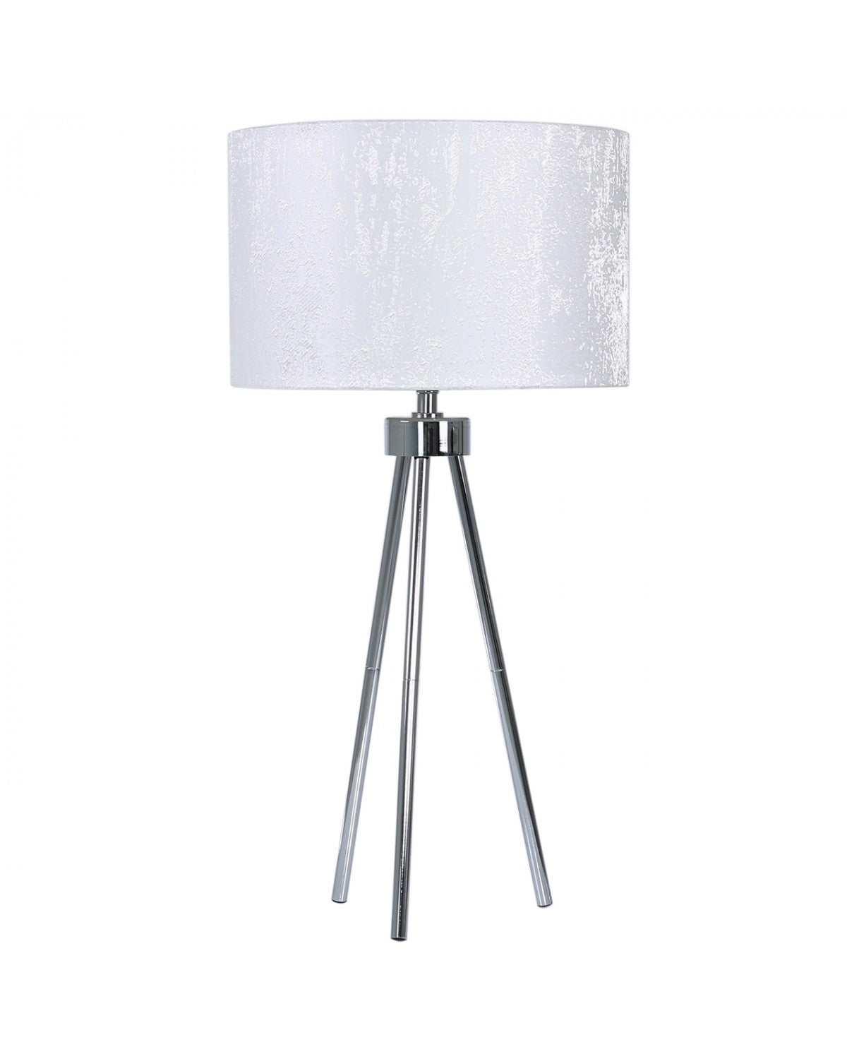 Camden Chrome Tripod Floor Lamp With Xl Grey And Gold Reni Shade
