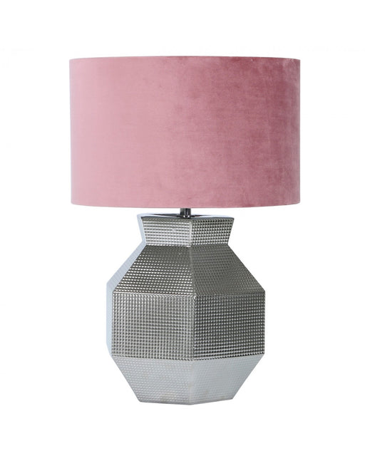 48cm Silver Ceramic Hexagon Table Lamp With Pink Velvet Shade