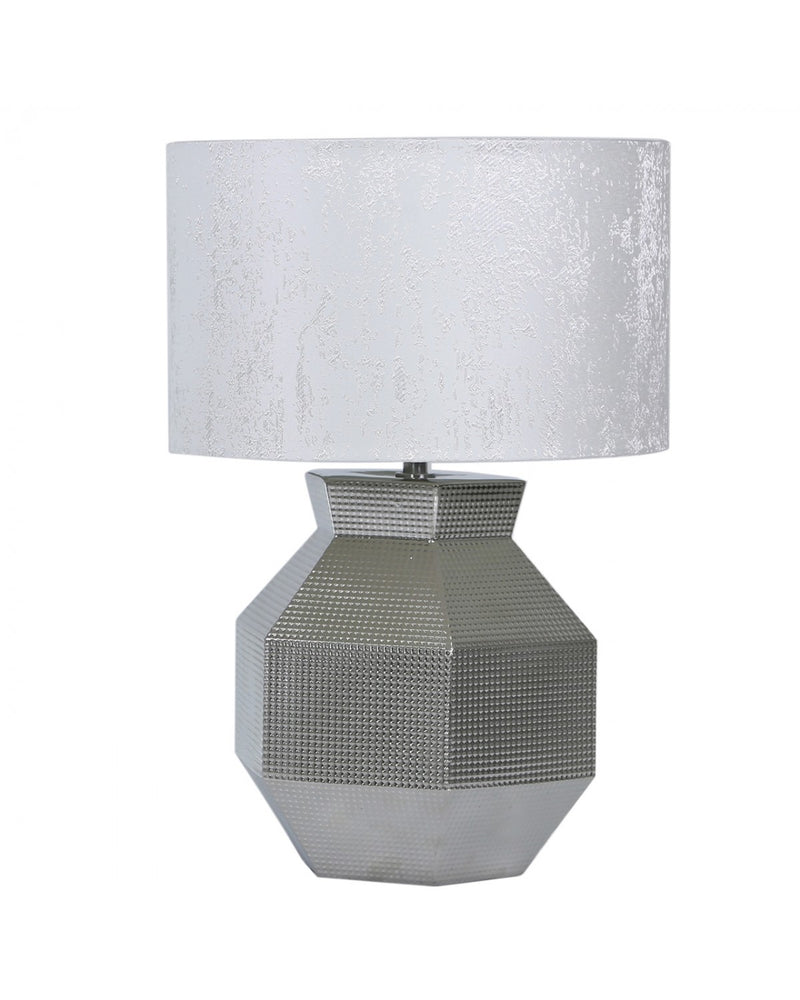 48cm Silver Ceramic Hexagon Table Lamp With White Cotton Shade
