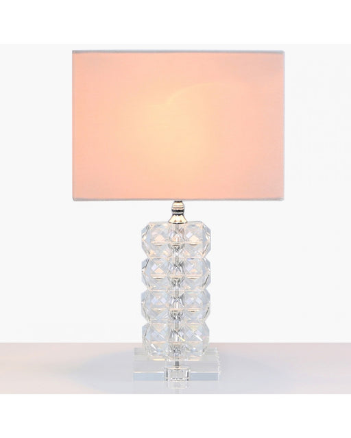 Small 34.5cm Rectangle Crystal Table Lamp With Pink Velvet Shade