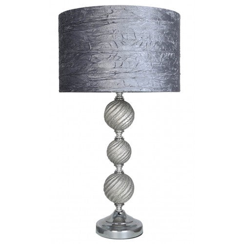 Three Ceramic Ball Lamp With Grey Shade