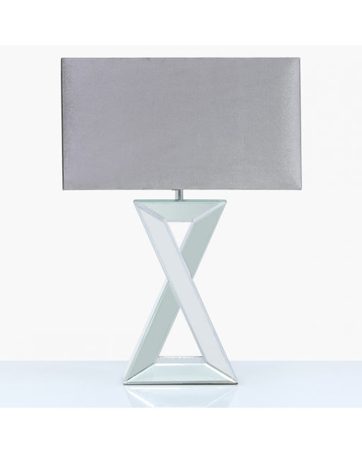 72cm X Shape Mirror Table Lamp With 20inch Rectangle Grey Velvet Shade