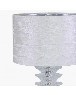 Fancy Crystal Table Lamp With Textured White Shade