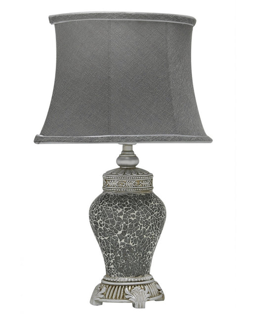 Grey Sparkle Mosaic Antique Silver Regency Lamp With Grey Shade