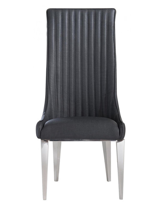 Josephine Grey Faux Leather And Chrome Dining Chair