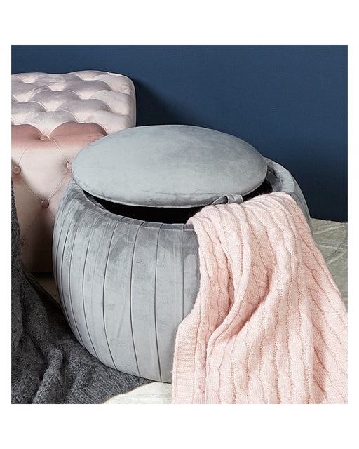 Round Velvet Storage Stool Grey