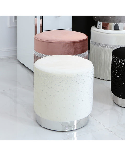 Ivory Round Stool With Velvet Fabric Adorned With Sparkling Diamantes