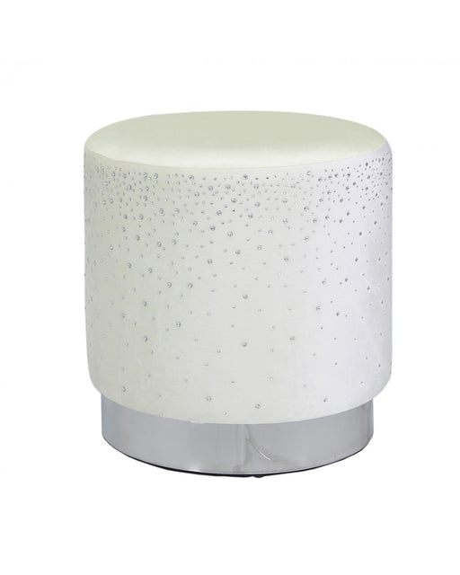 Round Stool With Sparkle Diamante Ivory
