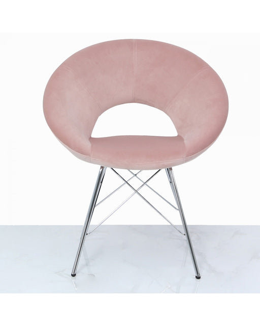 Orb Dining Chair Light Pink Velvet