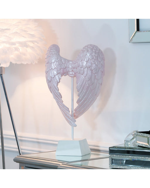 Blush Pink Angel Wing Decoration On Stand