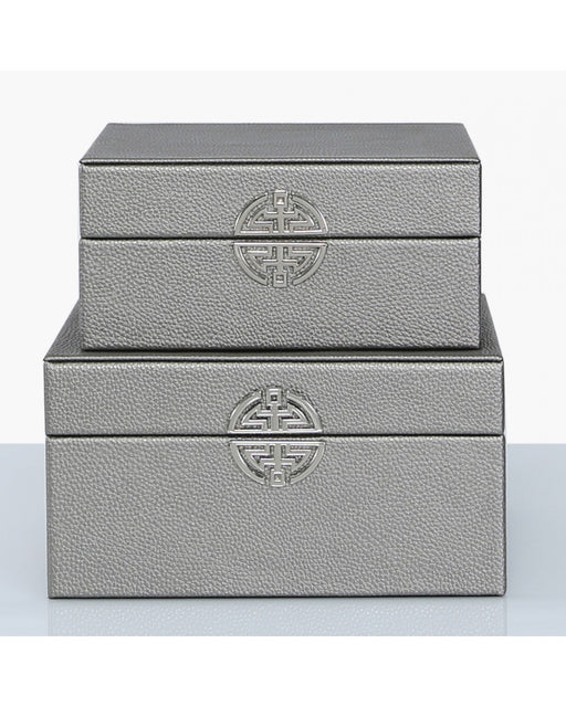 Set of 2 Pewter Faux Leather Jewellery Storage Trinket MakeUp Boxes
