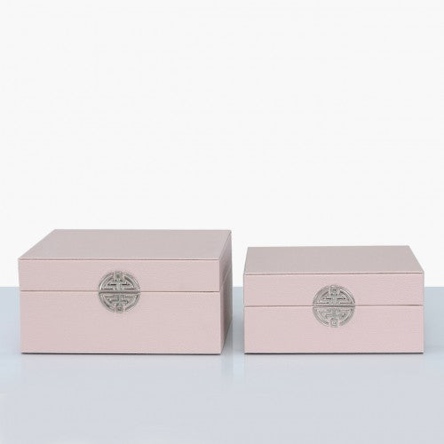 Set of 2 Pink Faux Leather Jewellery Storage Trinket Make Up Boxes