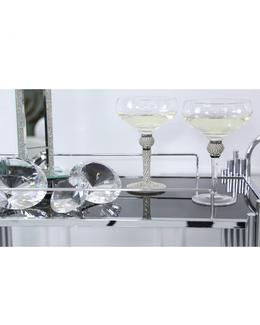 Makayla Champagne Saucer Silver Diamante Stem and Ball