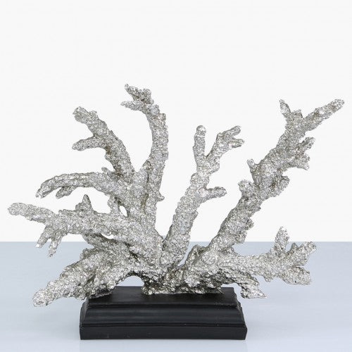 23.5cm Silver & Black Coral Decoration