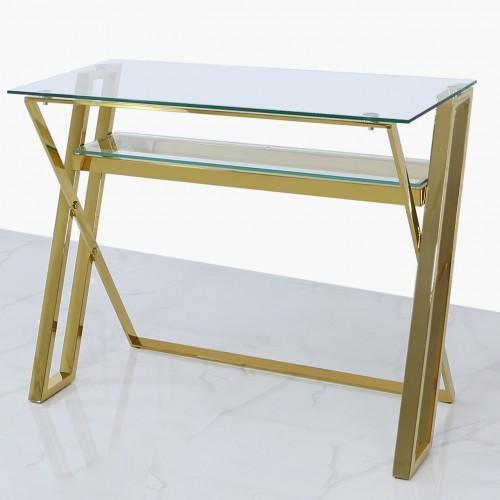 Dylan Gold And Clear Glass Desk