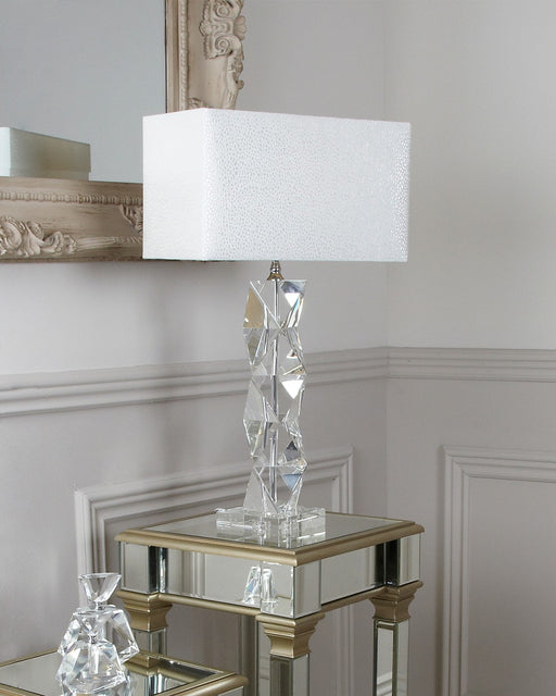 Medium Crystal Twist Table Lamp With White Shade