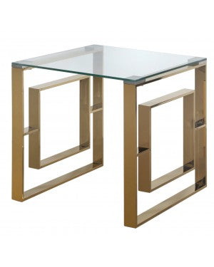 Alexis Gold Metal End Table Clear Glass Top