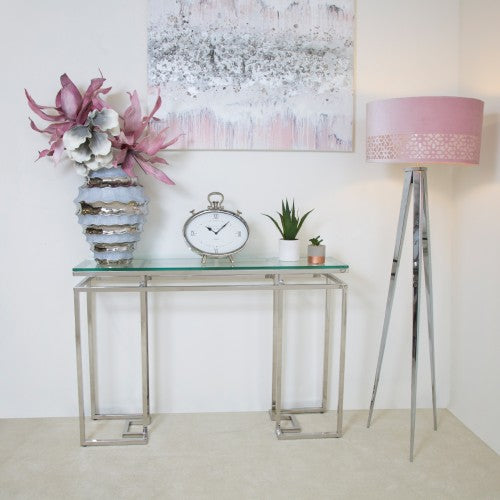 Macie Glass & Stainless Steel Console Table