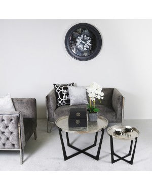 Value Rohan Set Of 2 Black And Nickel Nesting Tables