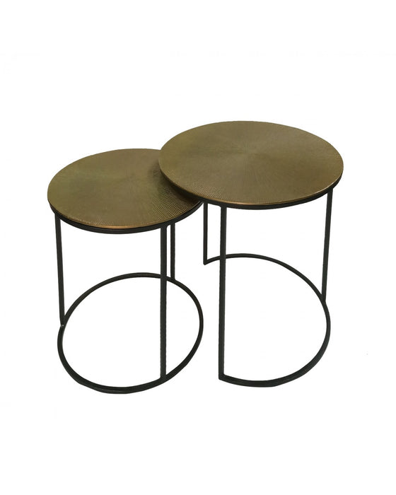 Set Of 2 Suhani End Tables Black With Gold Top