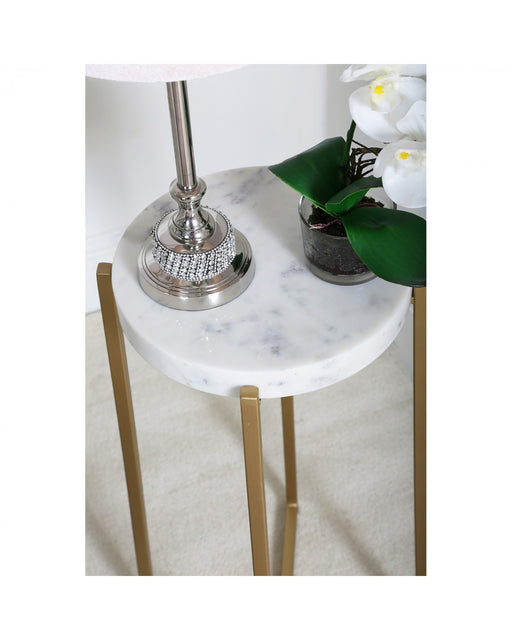 Set Of 2 Jaya Nesting Tables Gold And White Marble