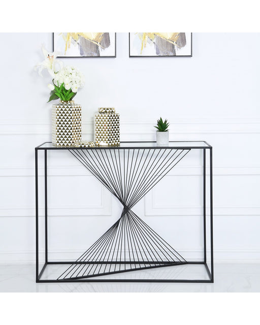 Value Luna Black Metal & Glass Console Table