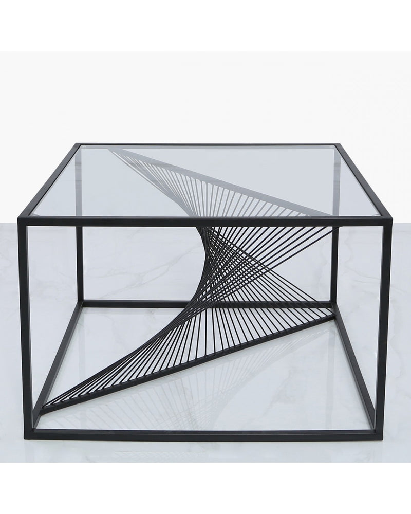 Luna Black Metal Coffee Table Clear Glass Top