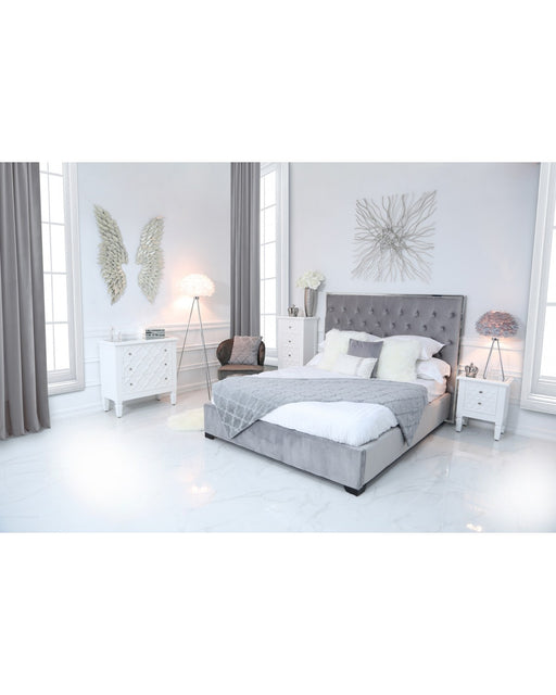 Monaco Grey Linen King Size Bed Frame