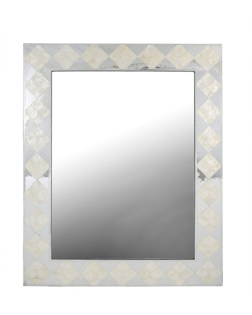 White & Silver Diamond Decorative Wall Mirror
