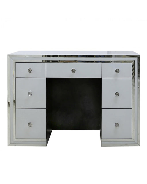 Manhattan 7 Drawer Dressing Table White Clear