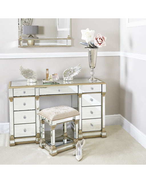 Champagne Amber 9 Drawer Mirror Dressing Table